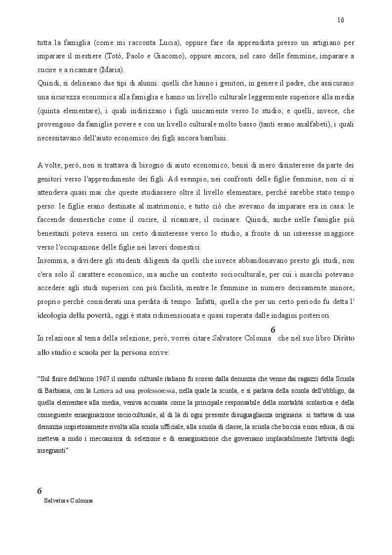 Estratto dalla tesi: Laboratorio Memoria: Formazione scolastica e apprendistato negli anni '50, '60 e '70 del Salento.