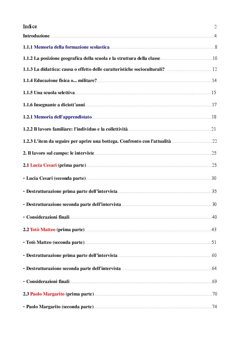 Indice della tesi: Laboratorio Memoria: Formazione scolastica e apprendistato negli anni '50, '60 e '70 del Salento., Pagina 1