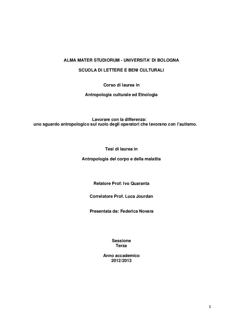 Tesi di laurea in antropologia del corpo e della malattia for Tesi autismo e gioco
