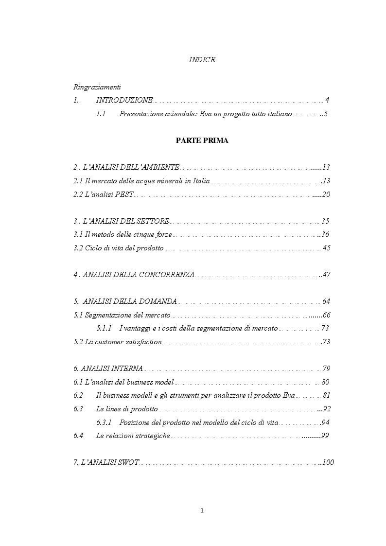 Indice della tesi: Il marketing strategico nel mercato delle acque minerali: il caso acqua Eva, Pagina 1