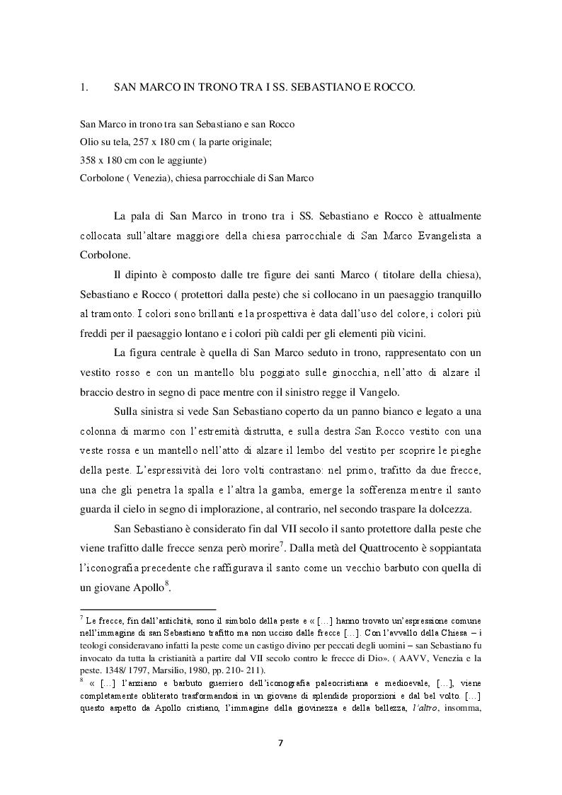 Estratto dalla tesi: La pala di San Marco tra i SS. Sebastiano e Rocco nella chiesa di Corbolone. Storia e restauri
