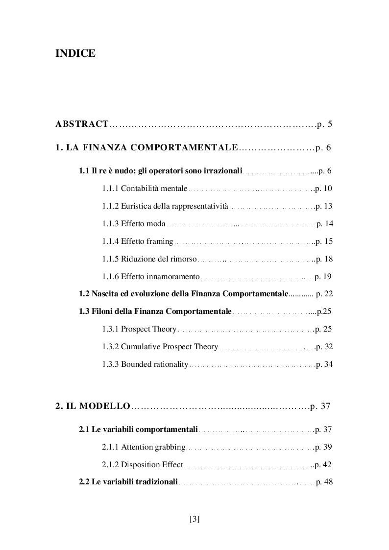 Indice della tesi: Razionalità e mercati finanziari: proposta di una rete neurale per la Finanza Comportamentale, Pagina 1
