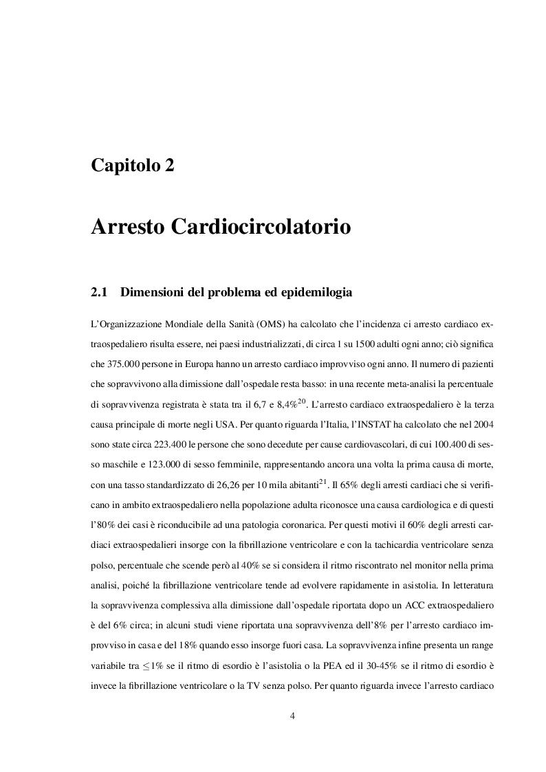 Estratto dalla tesi: Postresuscitation care e Ipotermia post Arresto Cardiaco: dalle linee guida al nostro contesto clinico
