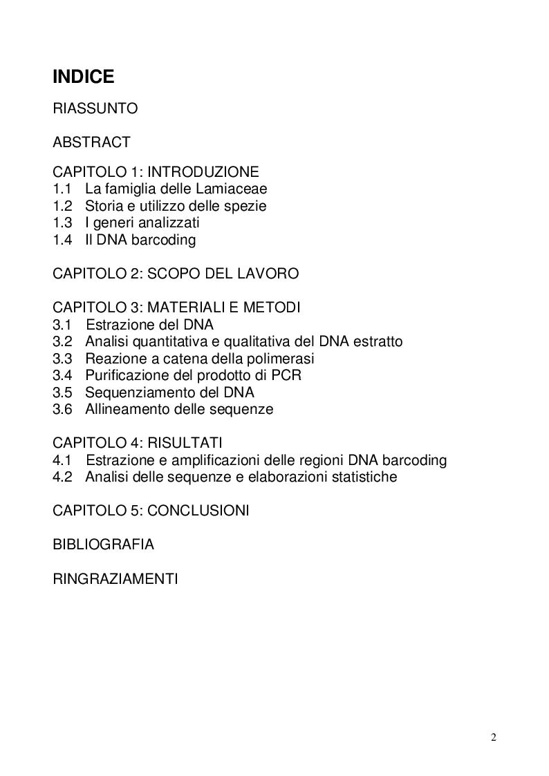 Indice della tesi: Il Dna barcoding per l'identificazione delle piante aromatiche commerciali, Pagina 1