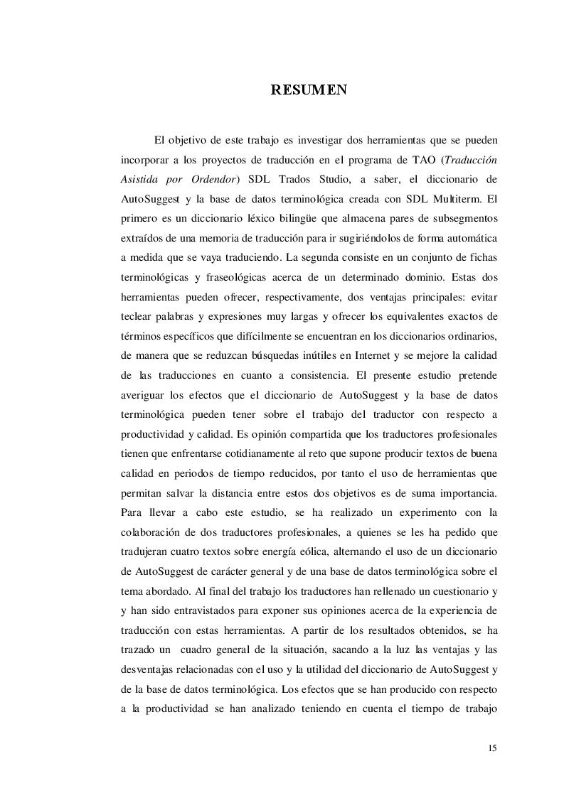 Estratto dalla tesi: Gestire parole e termini con i dizionari di AutoSuggest e i termbase di SDL Trados: un caso di studio nell'ambito delle energie rinnovabili