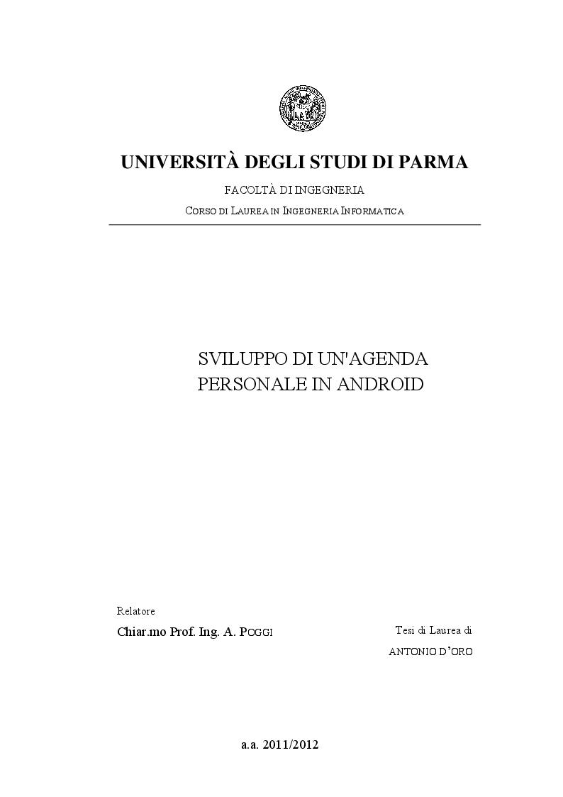Anteprima della tesi: Sviluppo di un'agenda personale in Android, Pagina 1