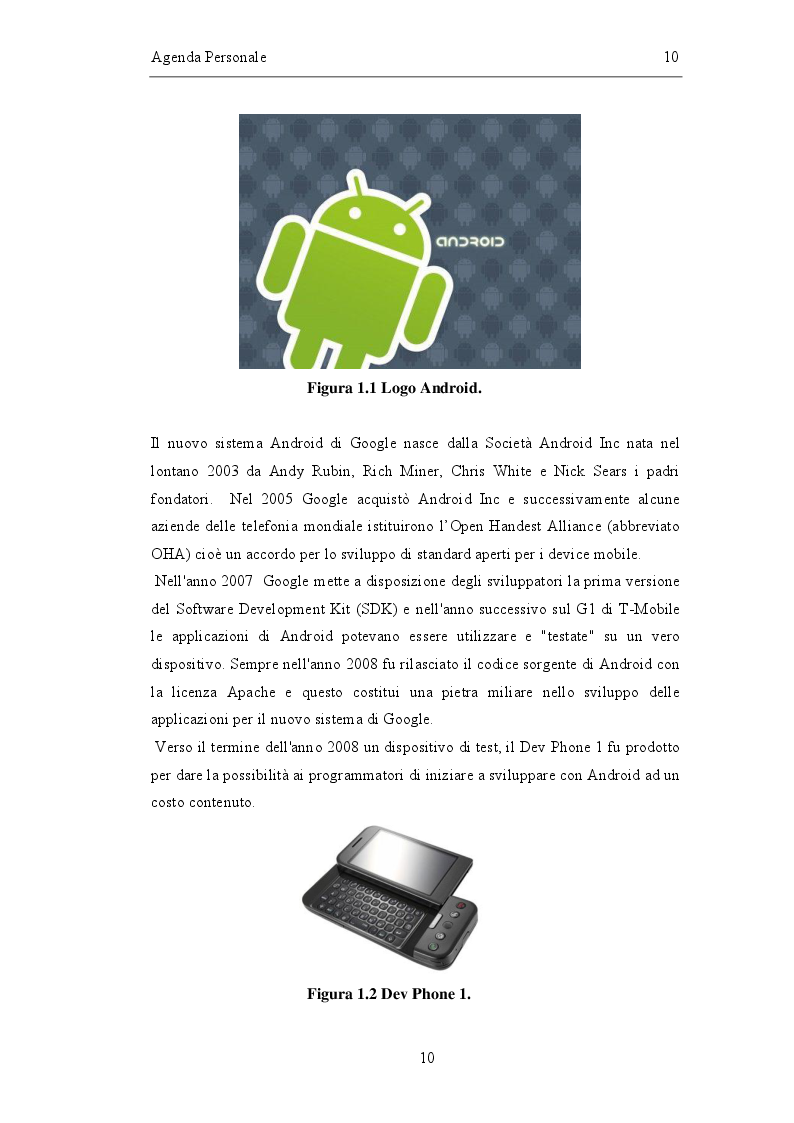 Anteprima della tesi: Sviluppo di un'agenda personale in Android, Pagina 3