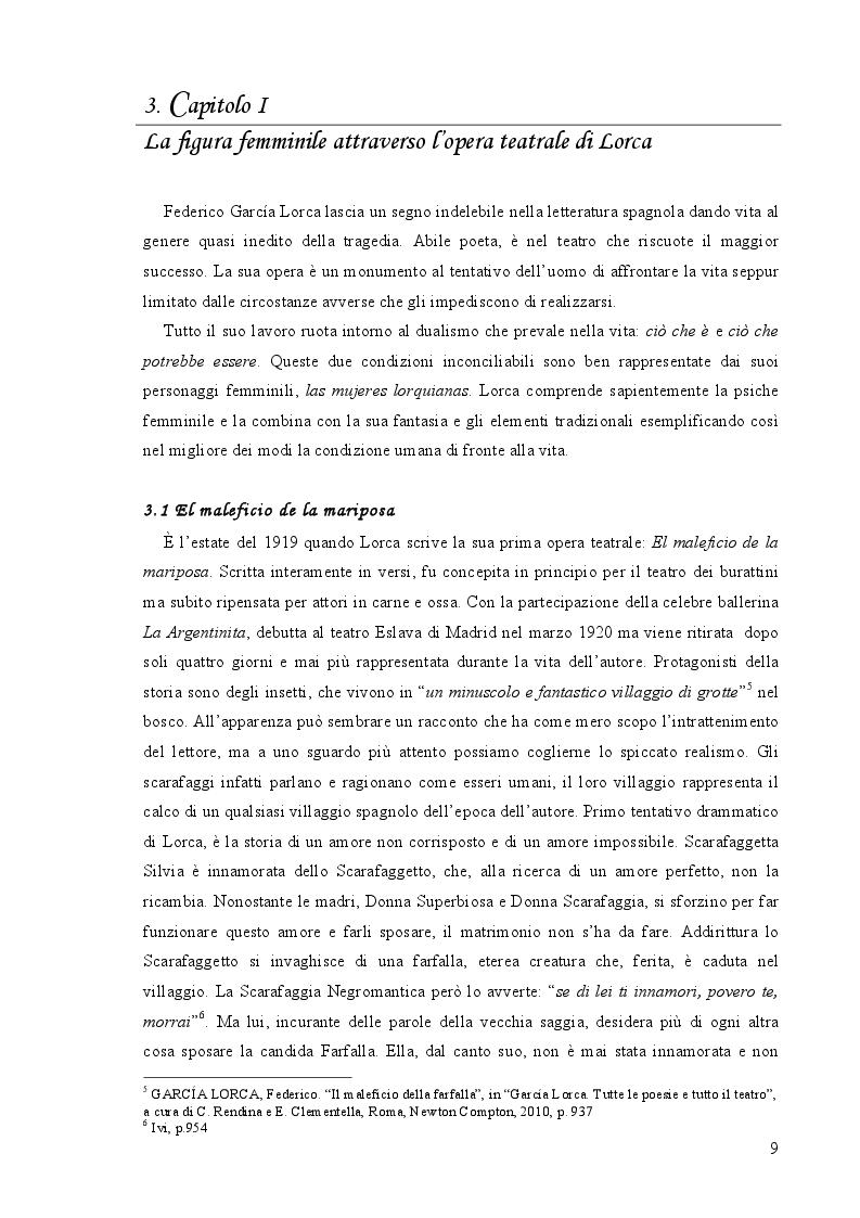 Estratto dalla tesi: Lorquianas: le donne nel teatro di Federico García Lorca