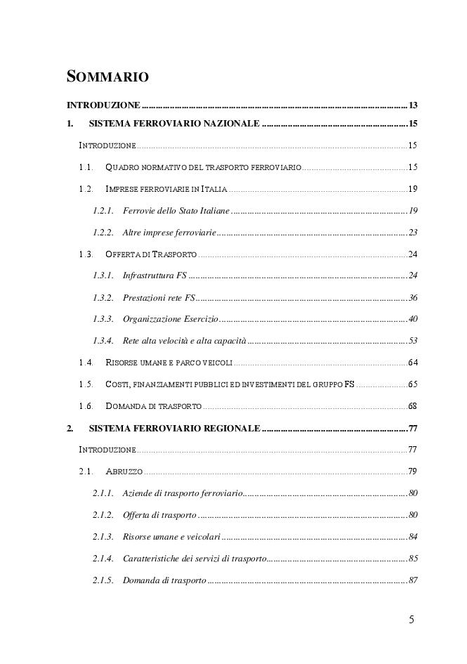 Indice della tesi: Sistemi di trasporto ferroviario regionali. Analisi comparativa per indicatori, Pagina 1