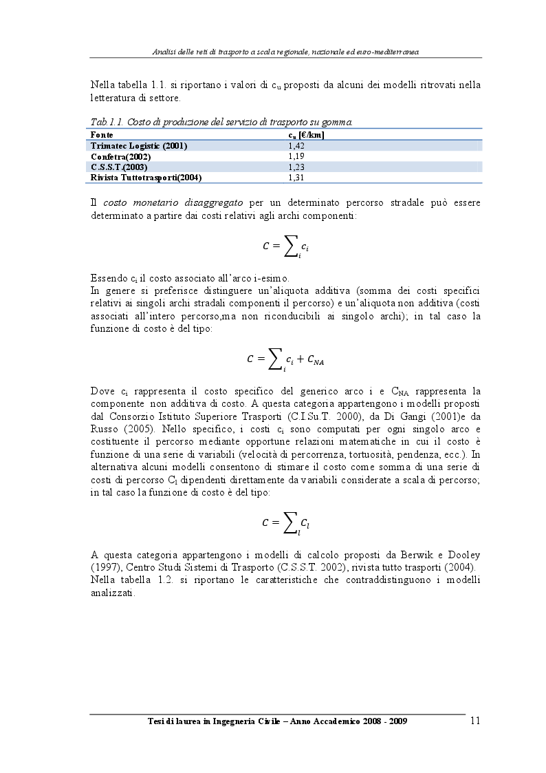 Estratto dalla tesi: Analisi delle reti di trasporto a scala regionale, nazionale ed Euro-Mediterranea
