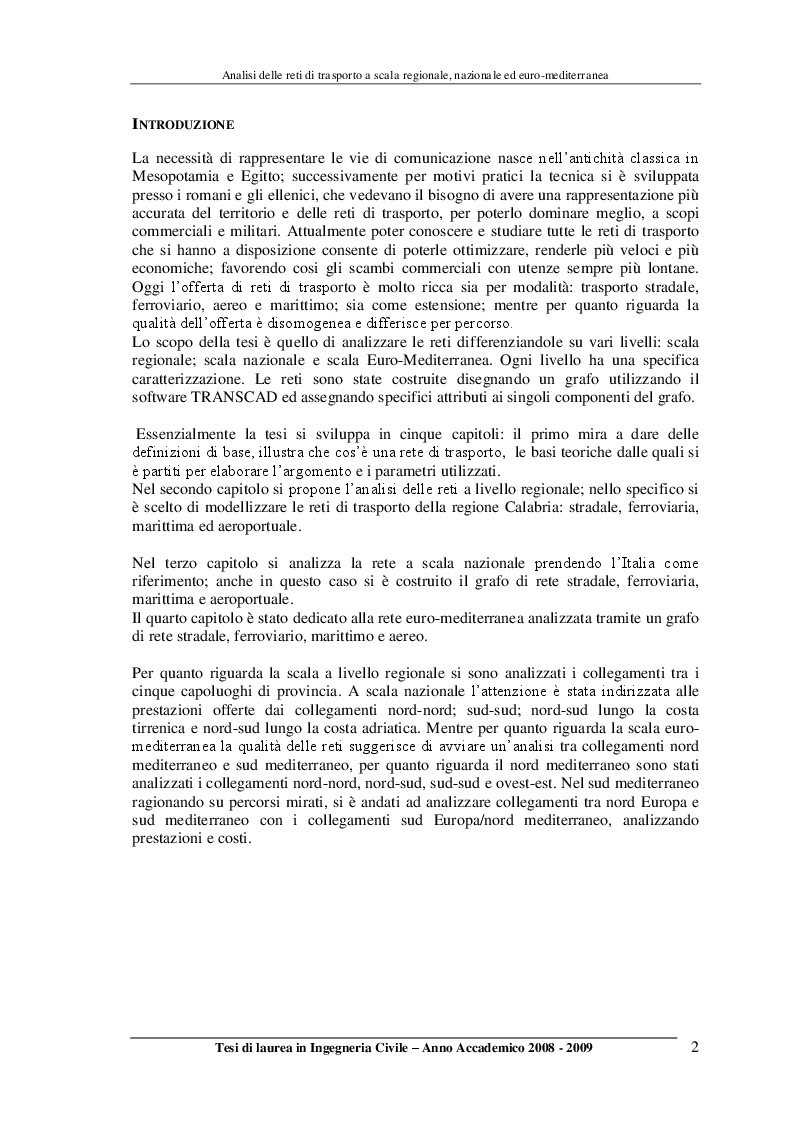 Anteprima della tesi: Analisi delle reti di trasporto a scala regionale, nazionale ed Euro-Mediterranea, Pagina 2