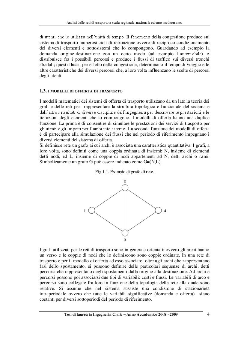 Anteprima della tesi: Analisi delle reti di trasporto a scala regionale, nazionale ed Euro-Mediterranea, Pagina 4