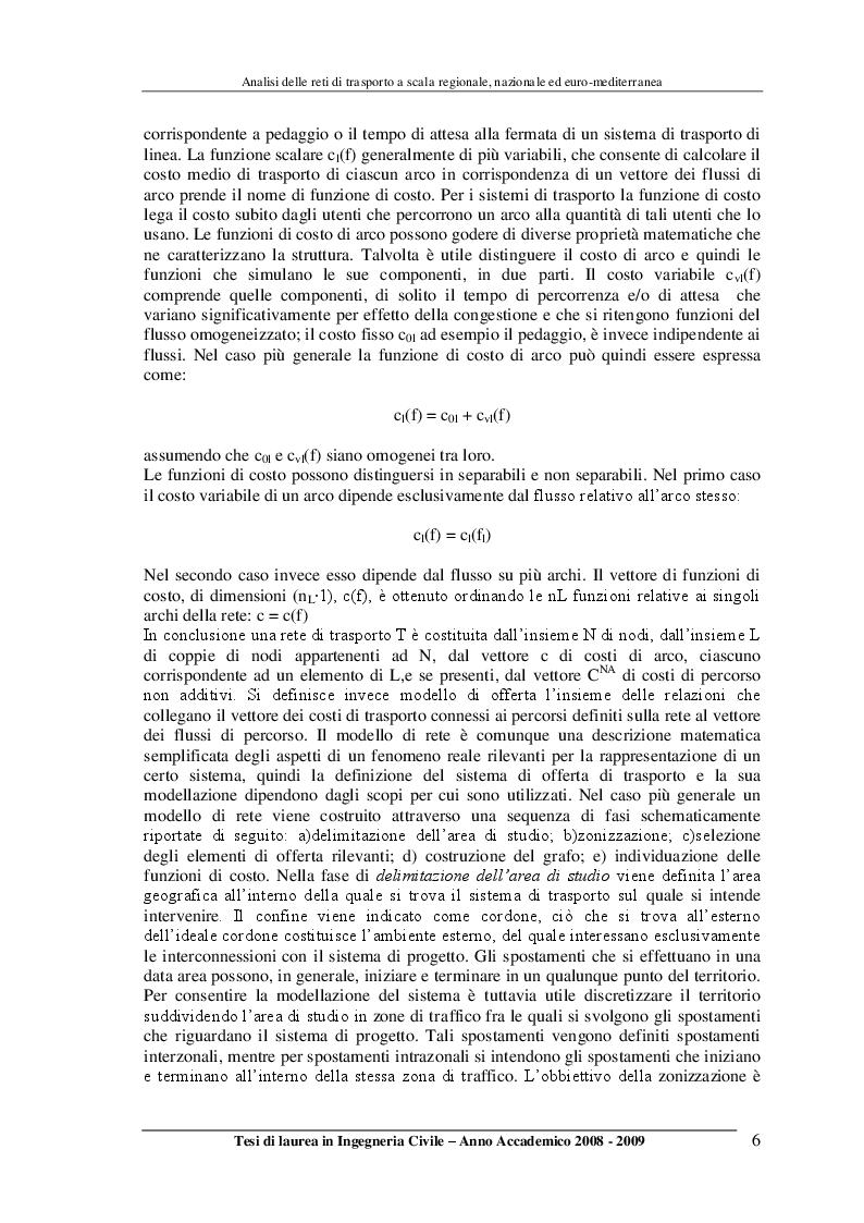Anteprima della tesi: Analisi delle reti di trasporto a scala regionale, nazionale ed Euro-Mediterranea, Pagina 6