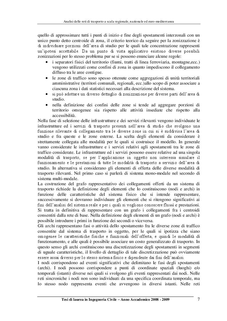 Anteprima della tesi: Analisi delle reti di trasporto a scala regionale, nazionale ed Euro-Mediterranea, Pagina 7