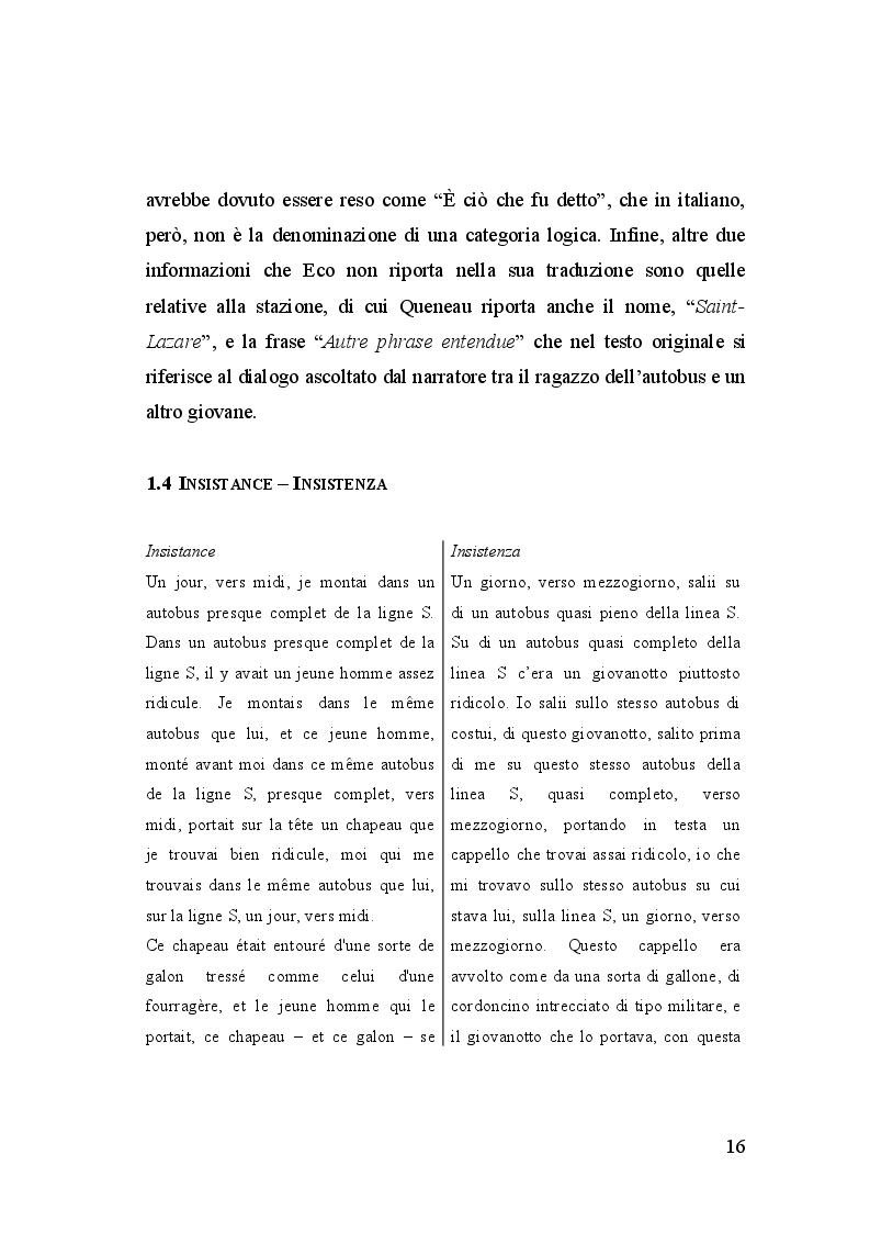 Estratto dalla tesi: Gli Exercices de Style nella traduzione di Umberto Eco