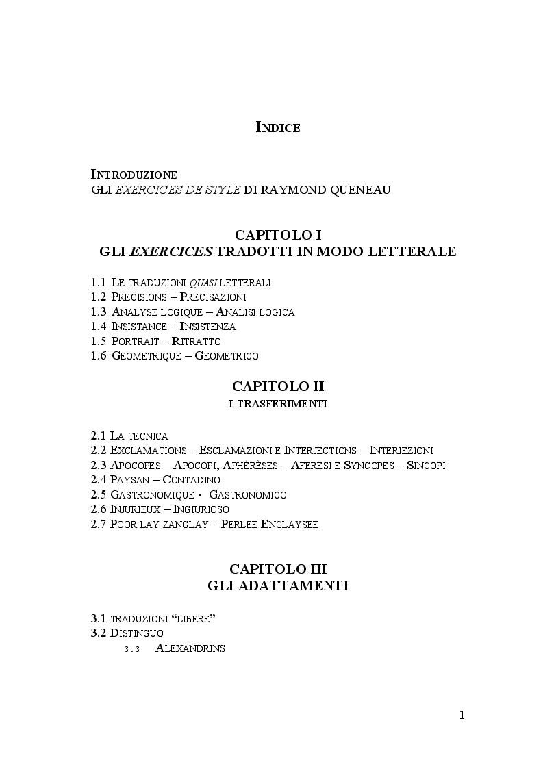 Indice della tesi: Gli Exercices de Style nella traduzione di Umberto Eco, Pagina 1