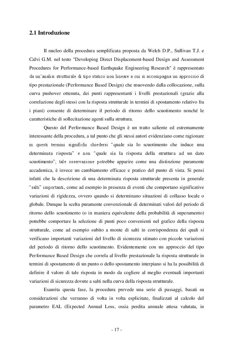 Estratto dalla tesi: Analisi benefici-costi di una struttura in cemento armato rinforzata sismicamente mediante controventi dissipativi