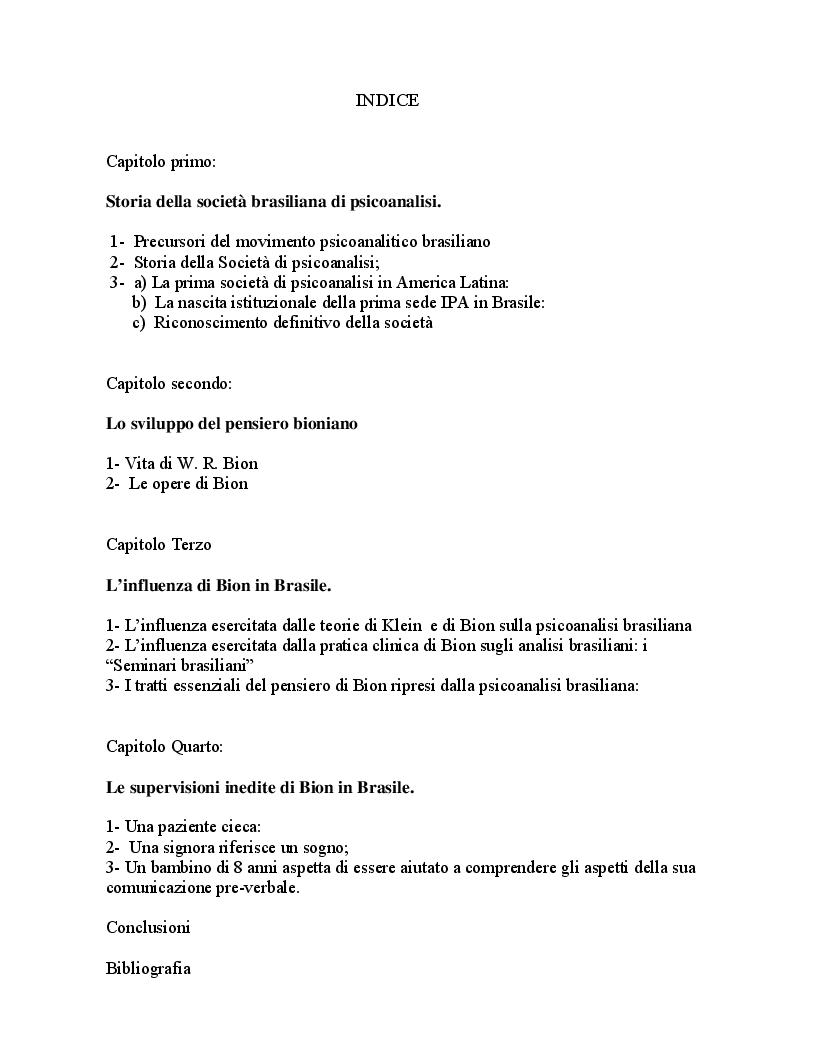 Indice della tesi: Lo sviluppo del movimento psicoanalitico in Brasile con particolare riferimento all'influenza esercitata da W. Bion, Pagina 1