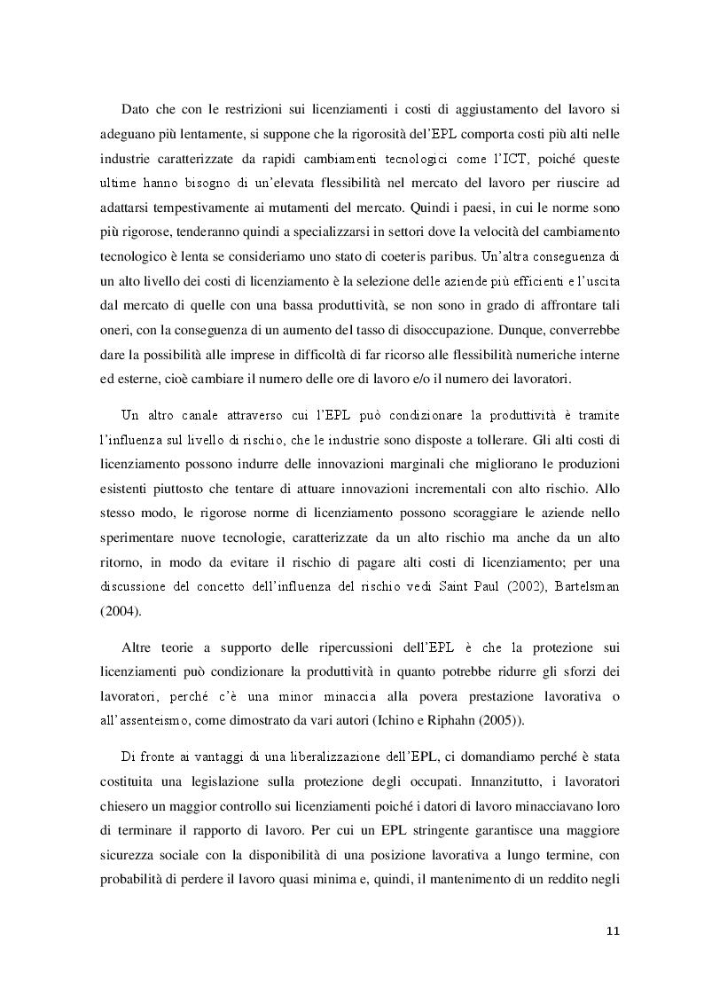 Estratto dalla tesi: Produttività e protezione del lavoro in Italia: problemi e prospettive