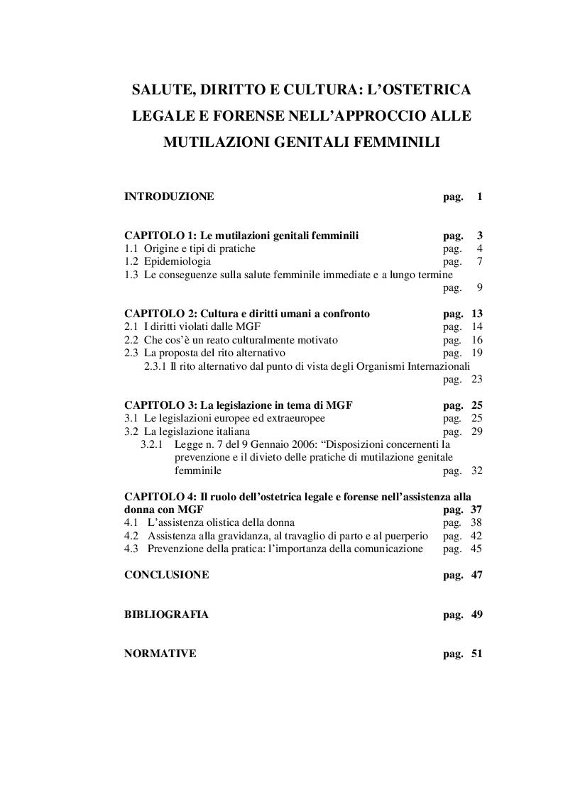 Indice della tesi: Salute, diritto e cultura: l'ostetrica legale e forense nell'approccio alle mutilazioni genitali femminili, Pagina 1