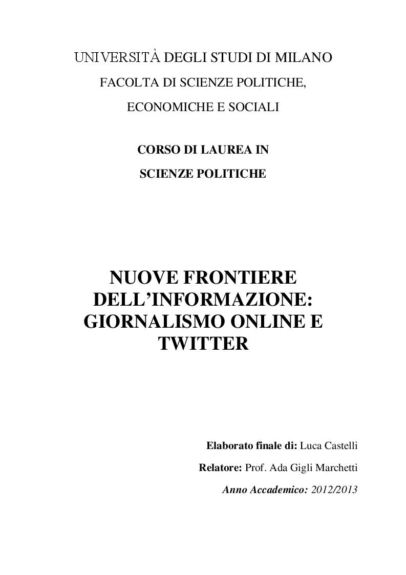Anteprima della tesi: Nuove frontiere dell'informazione: giornalismo online e Twitter, Pagina 1