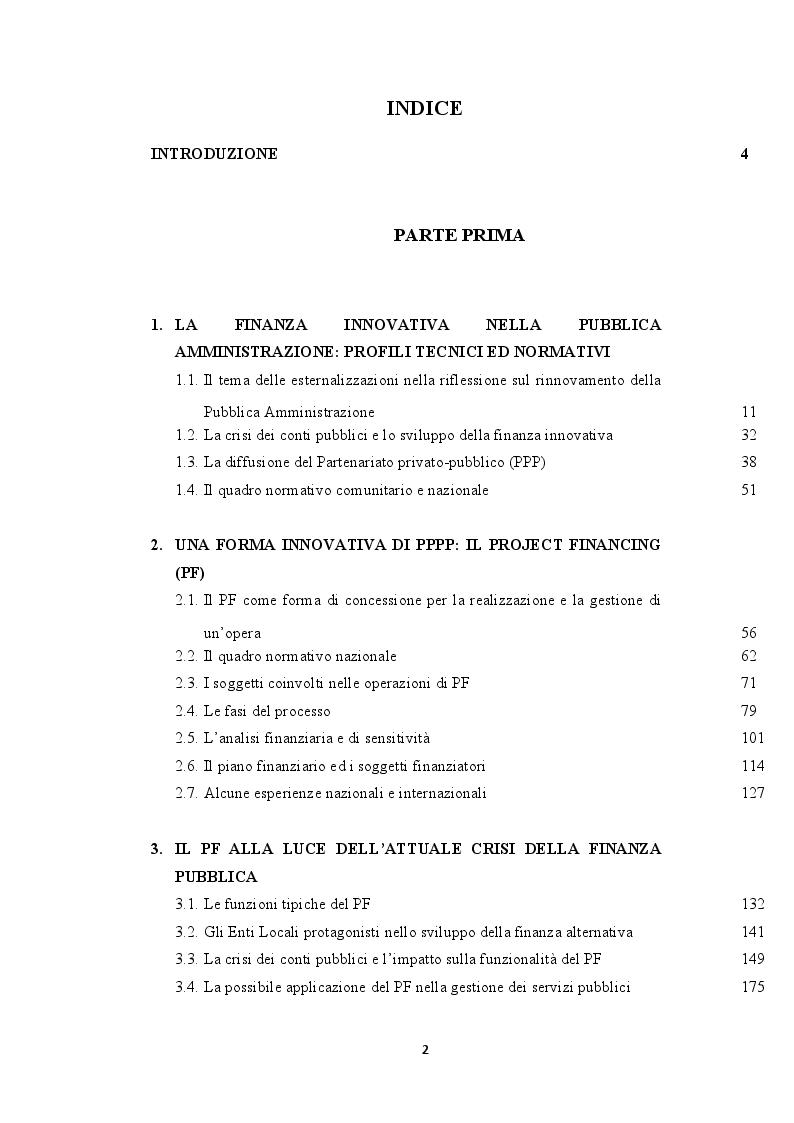 Indice della tesi: Il Project Financing in tempi di crisi della finanza pubblica: riflessioni ed evidenze alla luce del caso del Comune di Cerreto di Spoleto, Pagina 1