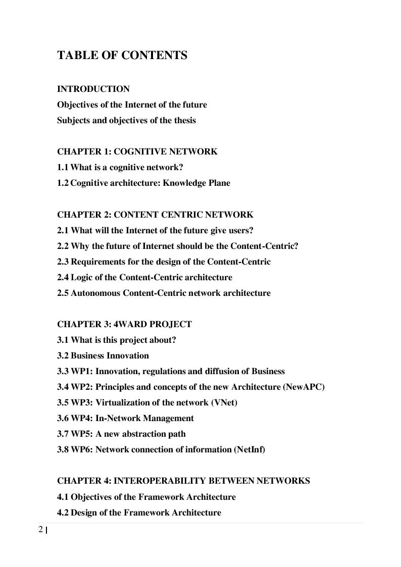 Indice della tesi: The Evolution towards the Internet of the Future, Pagina 1