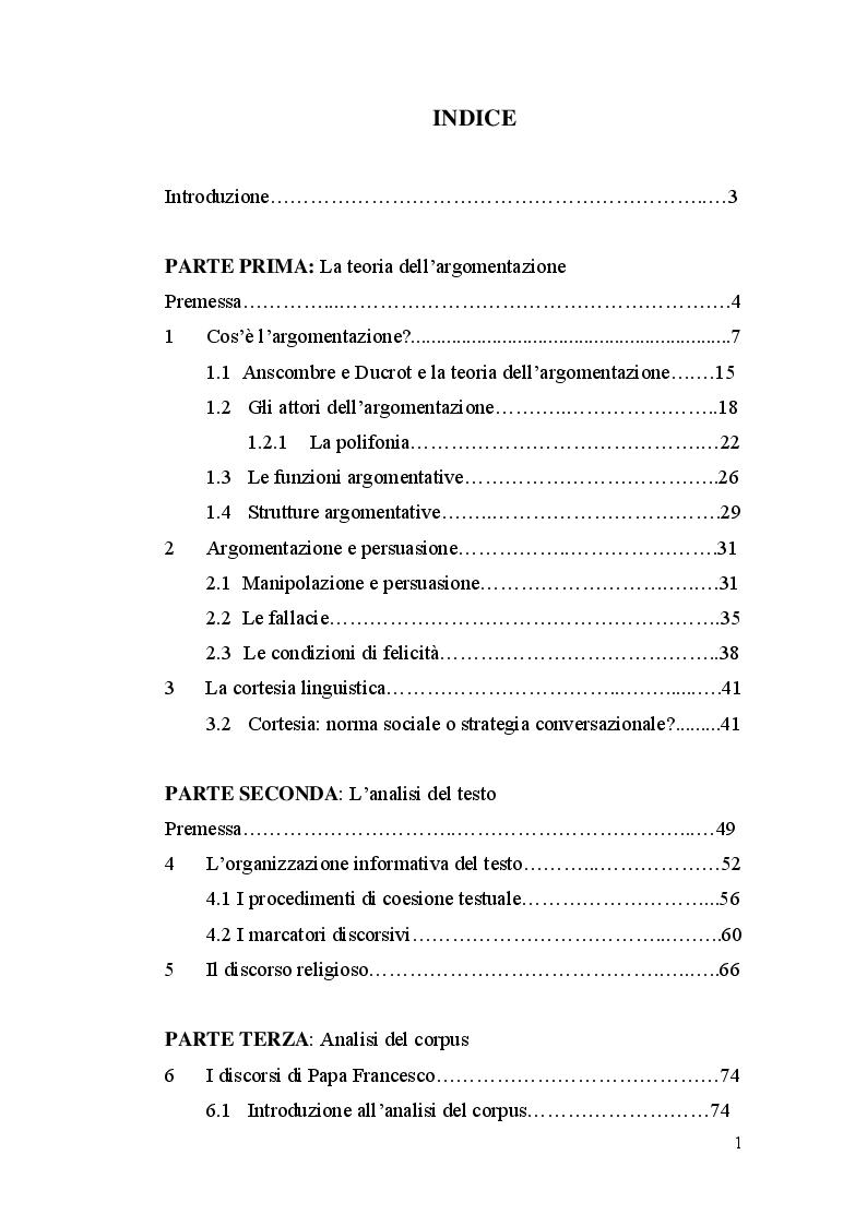 Indice della tesi: Il discorso religioso: strategie persuasive di Papa Francesco, Pagina 1