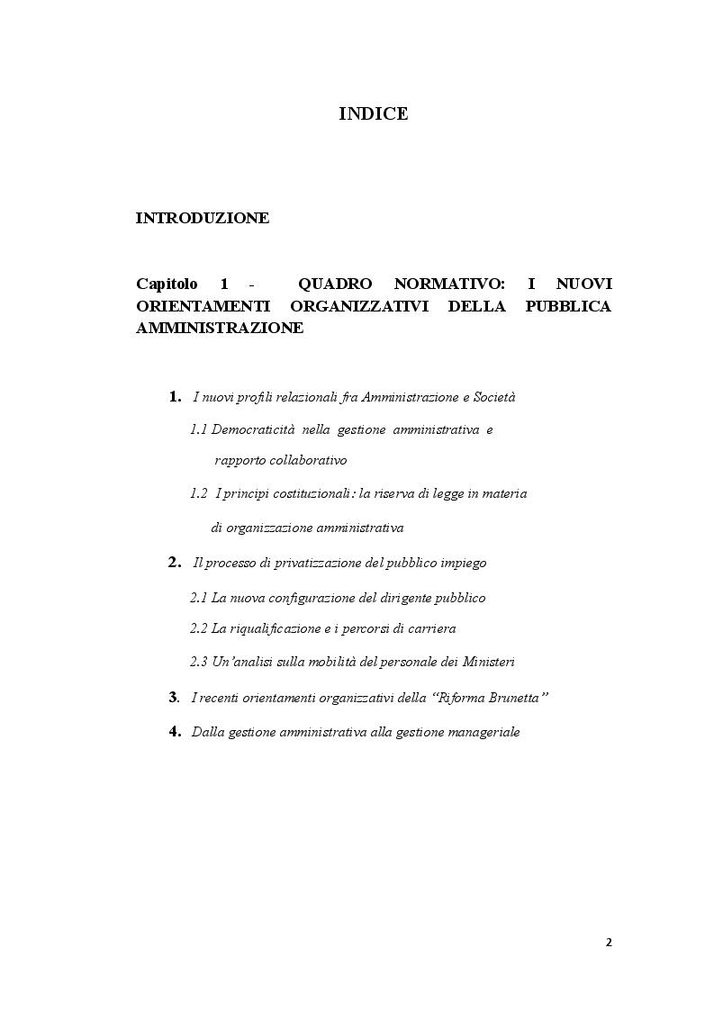 Indice della tesi: La privatizzazione del pubblico impiego: dalla gestione amministrativa alla gestione manageriale. Il caso del mobbing, Pagina 1