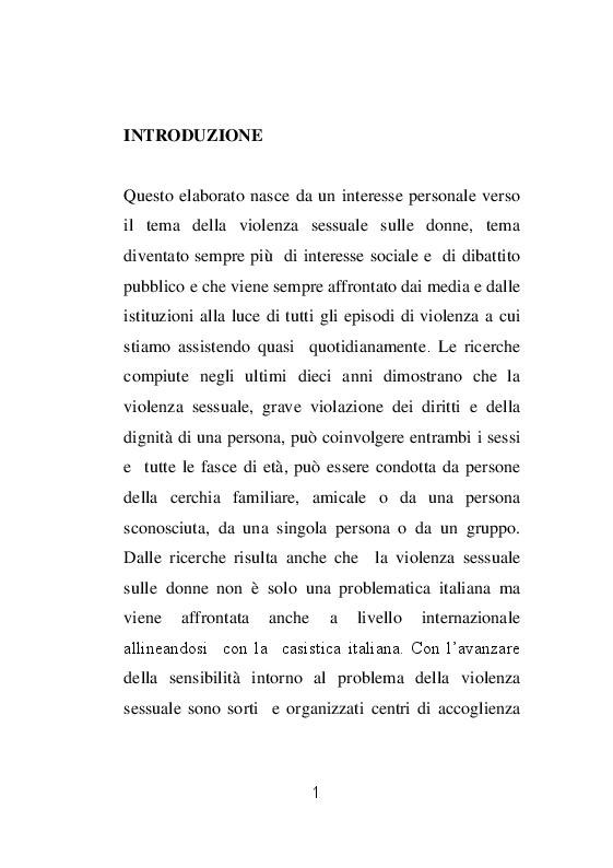 Il ruolo dell'infermiere nell'assistenza alle donne vittime di violenza sessuale - Tesi di Laurea
