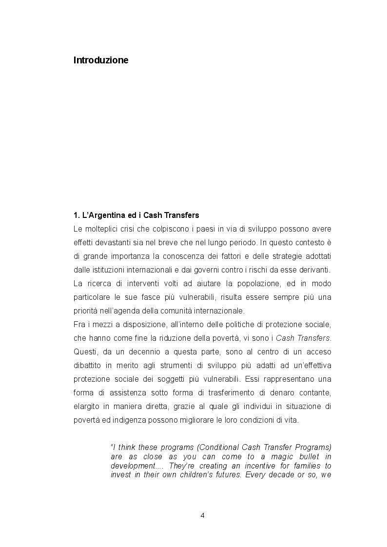 Anteprima della tesi: Politiche contro la povertà: i Cash Transfers in Argentina, Pagina 2