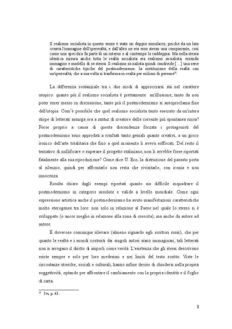 Estratto dalla tesi: Viaggio nel postmodernismo russo attraverso le opere di  V. Sorokin, V. Pelevin, V. Erofeev