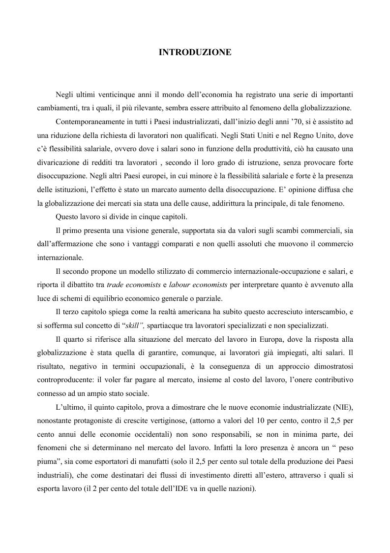 Anteprima della tesi: La globalizzazione e il mercato del lavoro: la realtà americana ed europea a confronto, Pagina 1