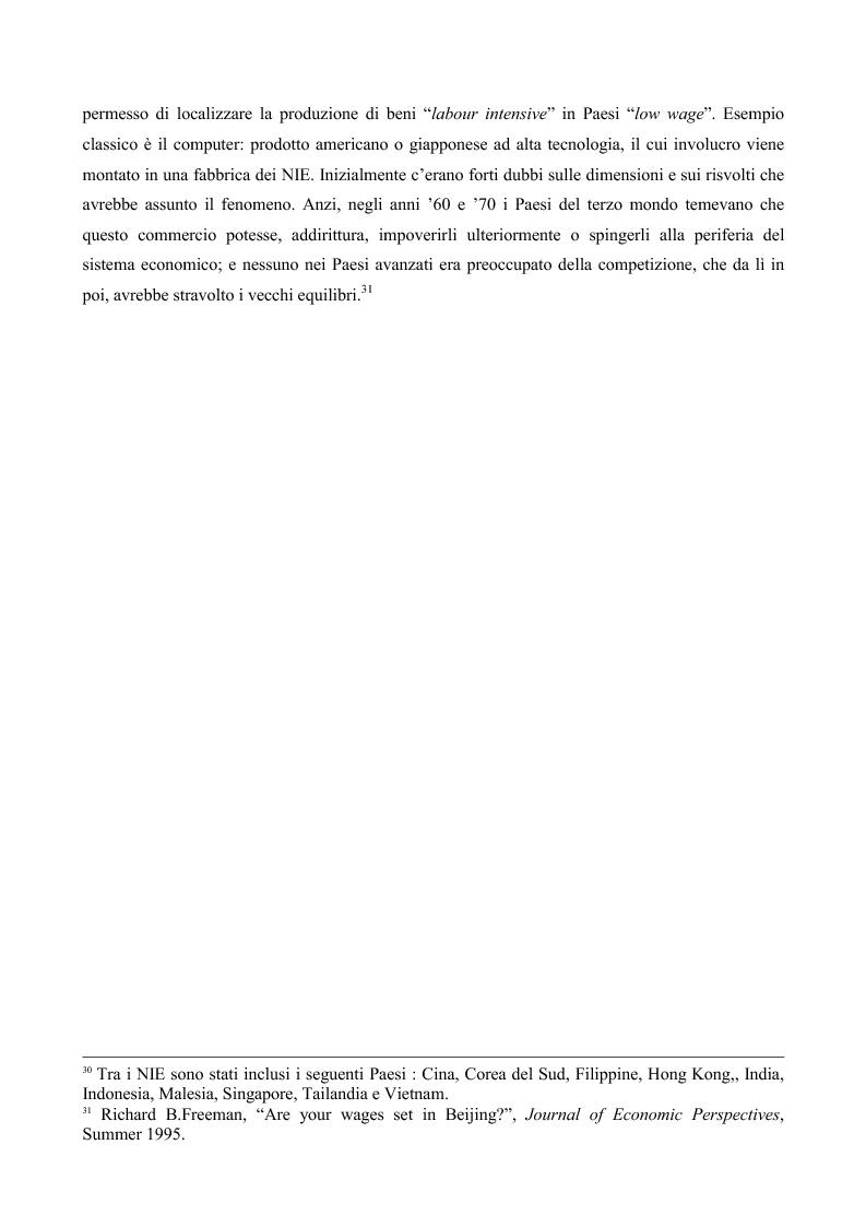 Anteprima della tesi: La globalizzazione e il mercato del lavoro: la realtà americana ed europea a confronto, Pagina 13
