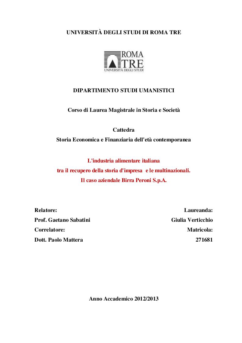 Anteprima della tesi: L'industria alimentare italiana tra il recupero della storia d'impresa e le multinazionali. Il caso aziendale Birra Peroni S.p.A., Pagina 1