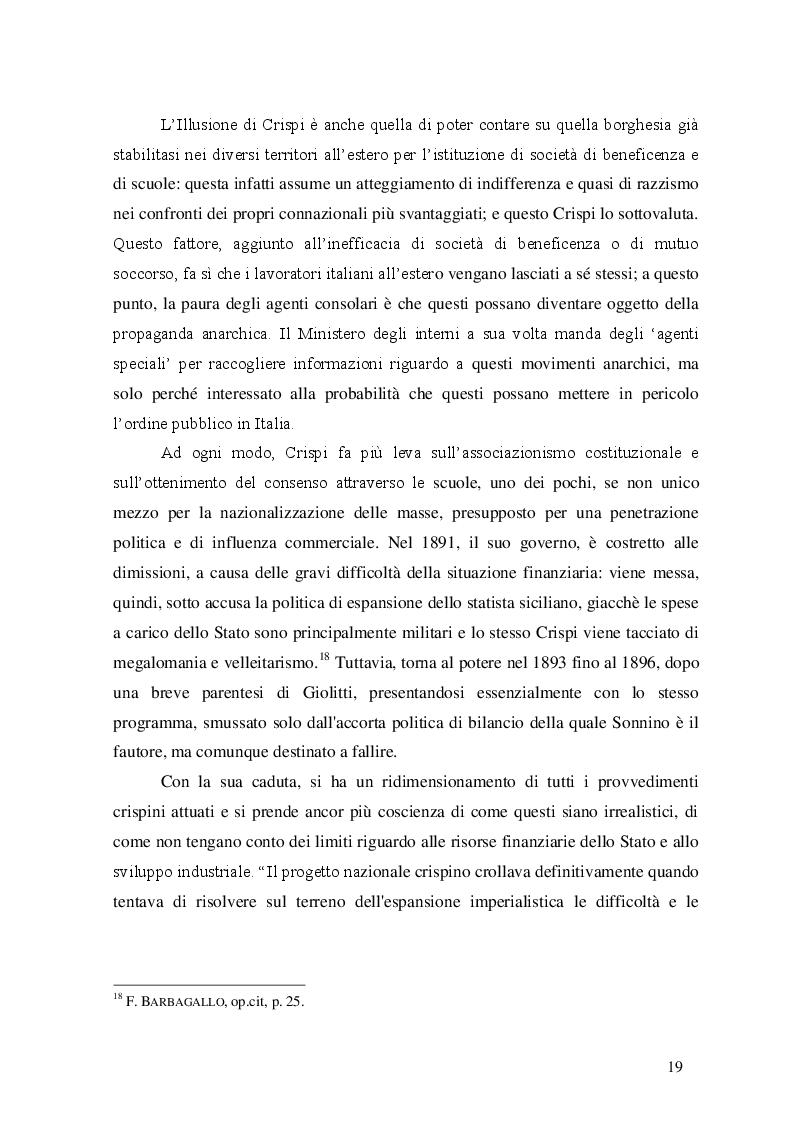 Estratto dalla tesi: Tutela degli emigrati e promozione della cultura italiana negli Stati Uniti d'America nei primi del Novecento