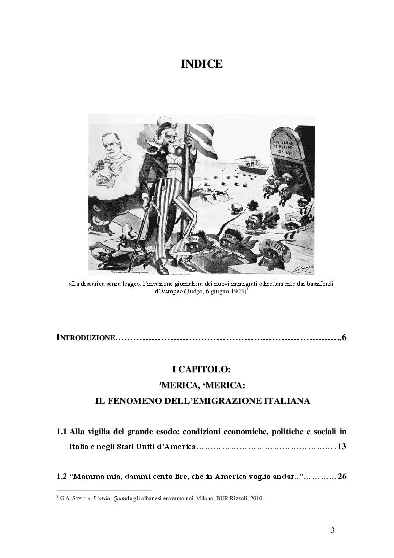 Indice della tesi: Tutela degli emigrati e promozione della cultura italiana negli Stati Uniti d'America nei primi del Novecento, Pagina 1