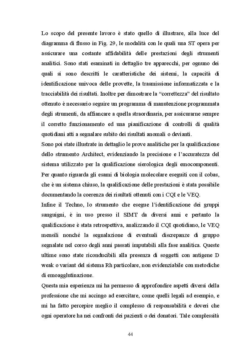 Estratto dalla tesi: Qualificazione della strumentazione e dei reagenti destinati alla certificazione di qualità e sicurezza degli emocomponenti ad uso trasfusionale