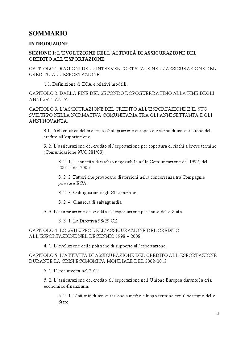 Indice della tesi: L'assicurazione del credito all'esportazione: profili di comparazione tra Italia e Argentina., Pagina 1