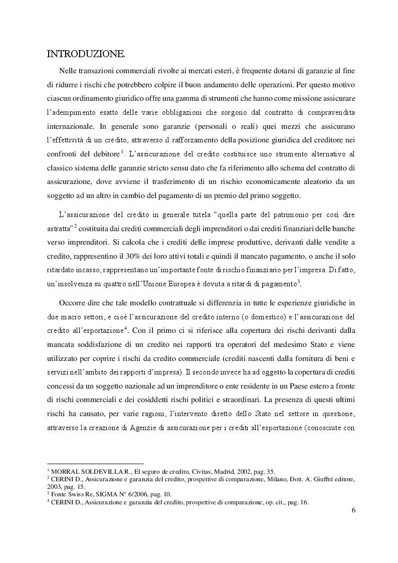 L'assicurazione del credito all'esportazione: profili di comparazione tra Italia e Argentina. - Tesi di Laurea