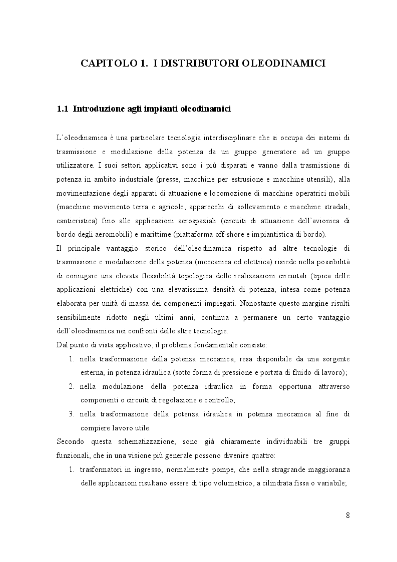 Anteprima della tesi: La cavitazione nei distributori oleodinamici proporzionali, Pagina 4