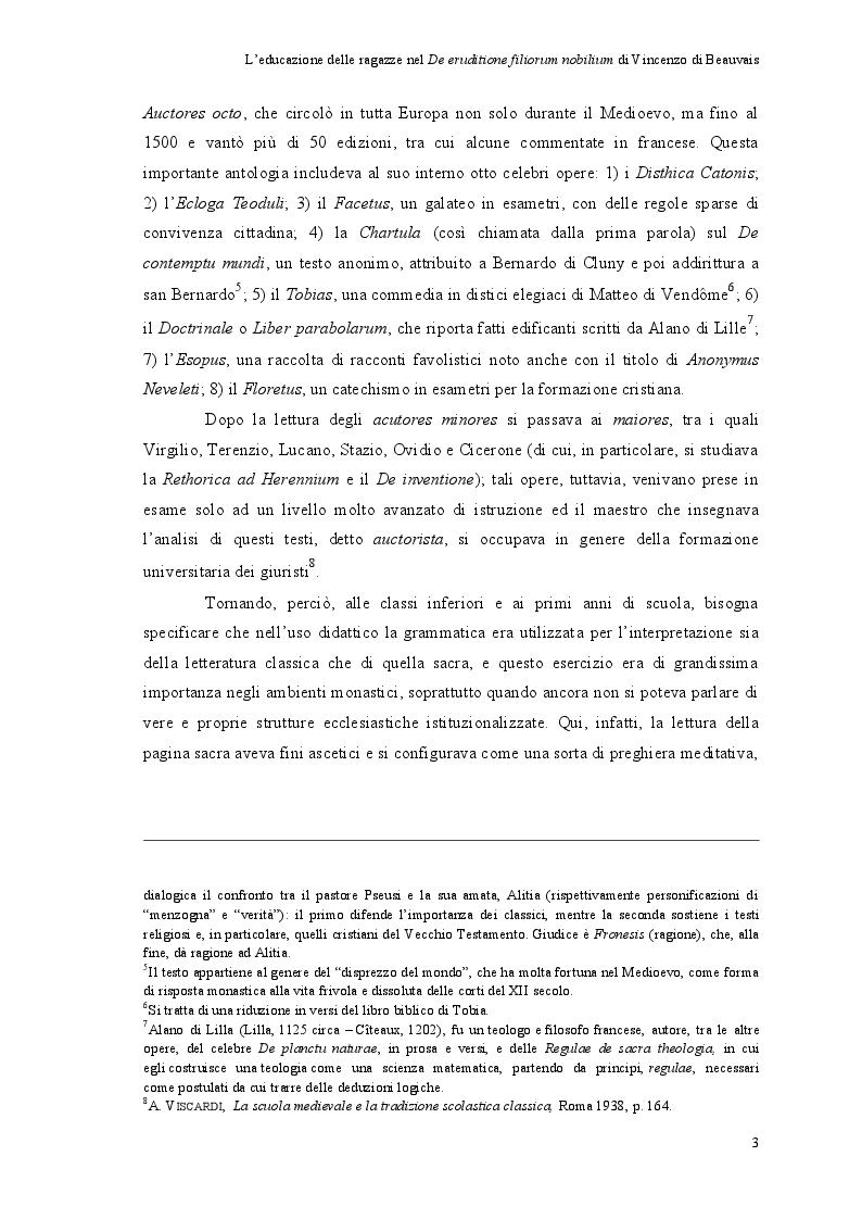 Estratto dalla tesi: L'educazione delle ragazze nel ''De eruditione filiorum nobilium'' di Vincenzo di Beauvais
