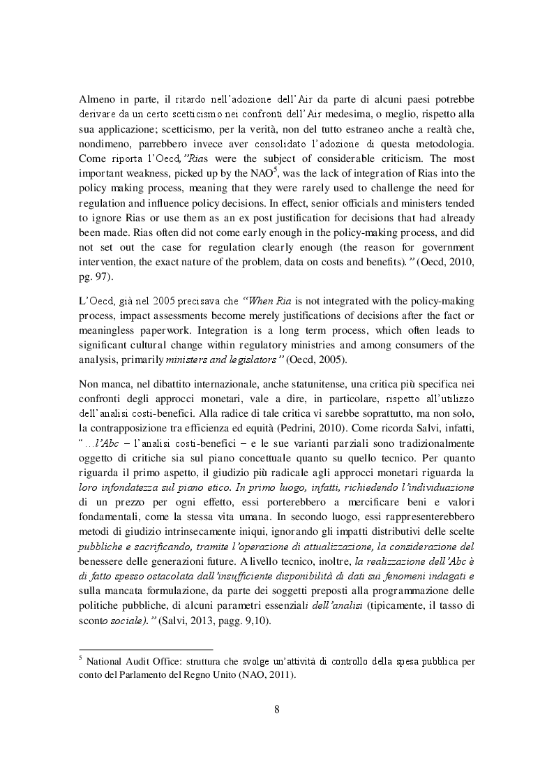 Estratto dalla tesi: L'analisi di impatto della regolazione: la difficile integrazione nel processo di policy making