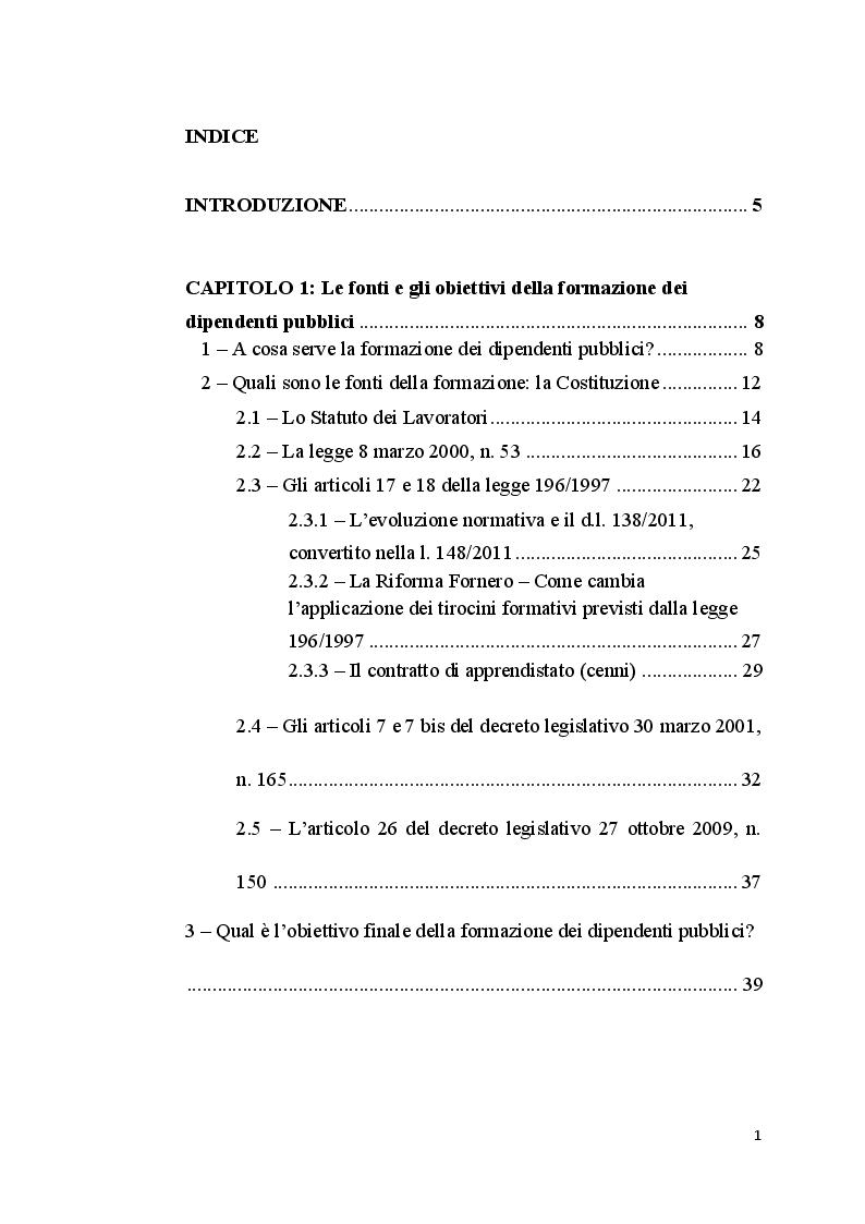 Indice della tesi: La Formazione del Dipendente Pubblico, Pagina 1