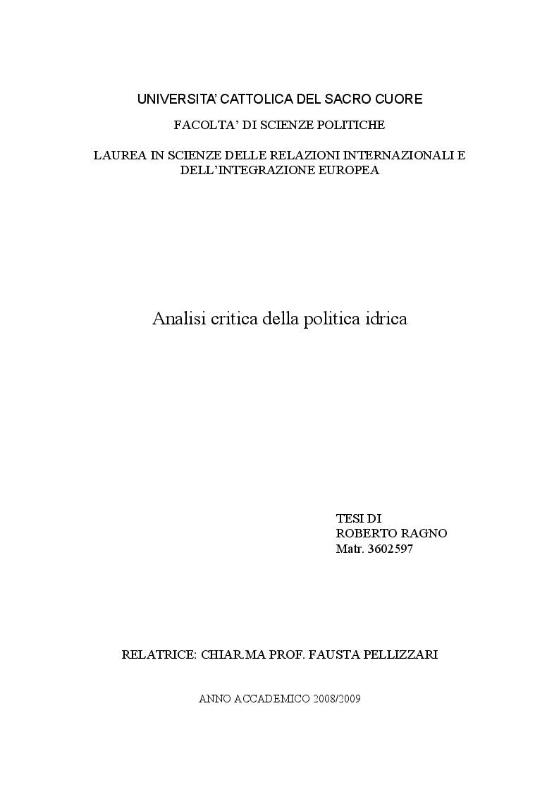 Anteprima della tesi: Analisi critica della politica idrica, Pagina 1