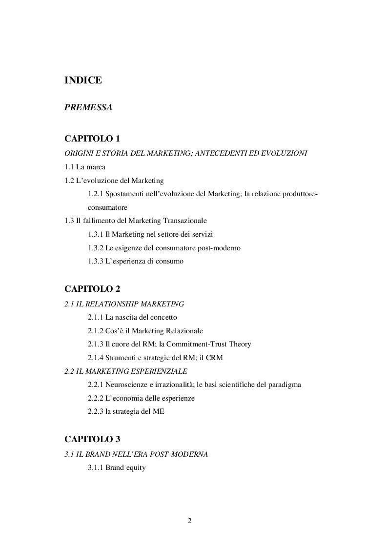 Indice della tesi: L'evoluzione del marketing ed i suoi principali sviluppi nell'era postmoderna, Pagina 1