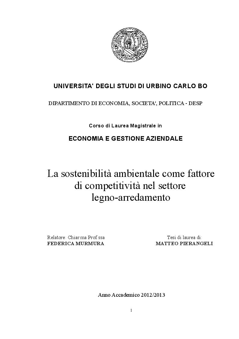 Anteprima della tesi: La sostenibilità ambientale come fattore di competitività nel settore legno-arredamento, Pagina 1