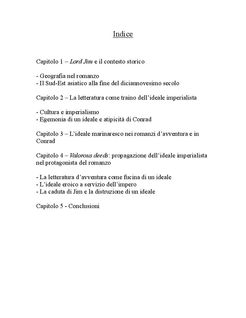 Indice della tesi: Lord Jim nello specchio della critica saidiana, Pagina 1