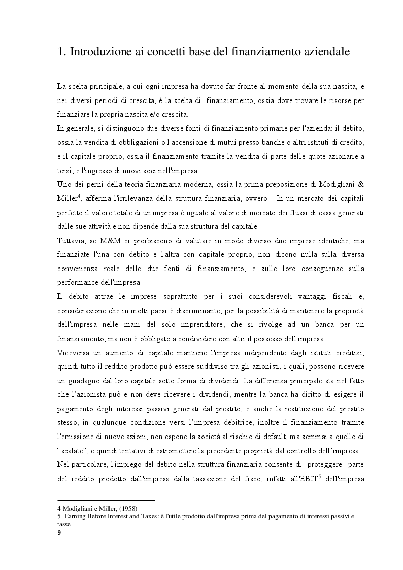 Estratto dalla tesi: Le decisioni di finanziamento delle imprese italiane: confronti con l'estero e prospettive per il futuro