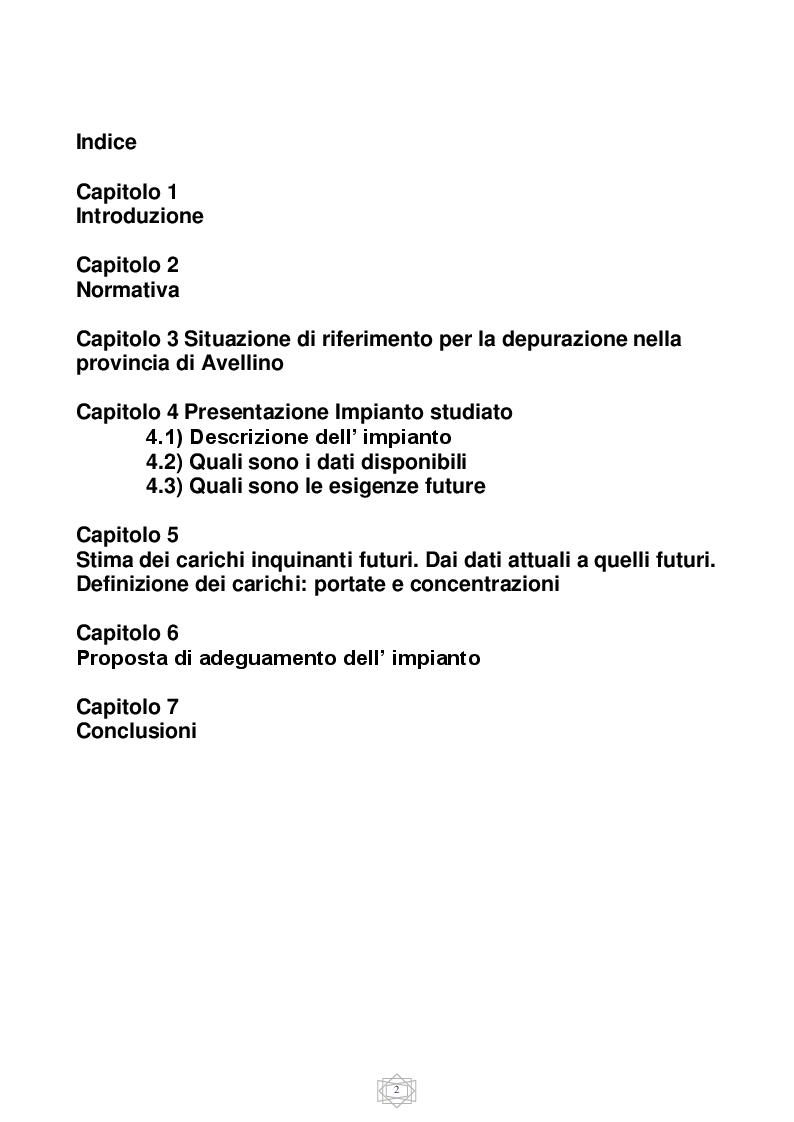 Indice della tesi: Proposta di adeguamento dell' impianto di depurazione di Pianodardine (AV), Pagina 1